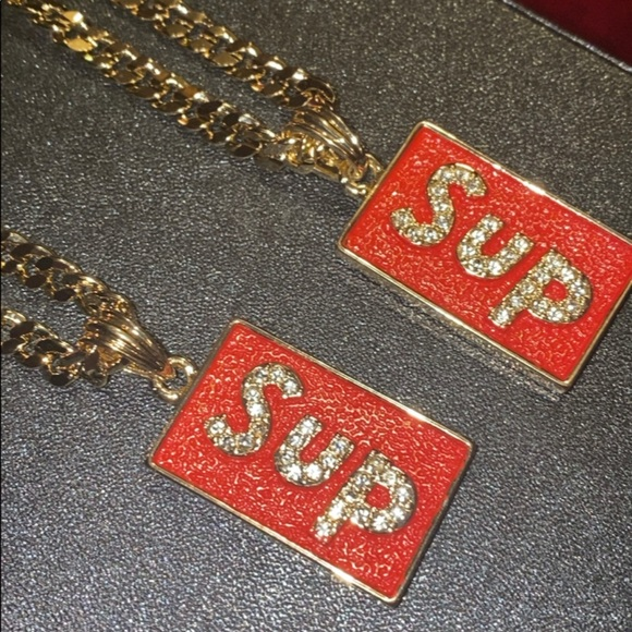 """ONE SUPREME NECKLACE SET 24"""" GOLD GP CHAIN 14KT"""